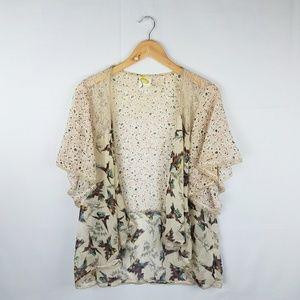 Fig and Flower Anthropologie Bird Sheer Kimono M